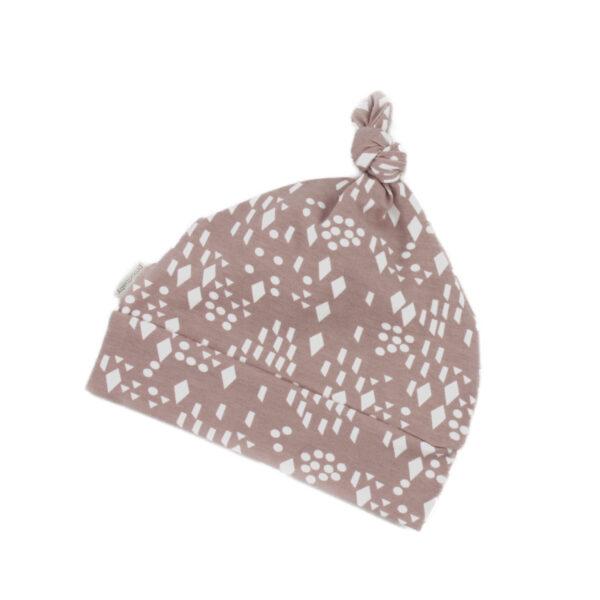 100001102 Konotenbeanie Mütze Haube Baby Frühchen mit Bündchen mauve Diamond bio organic
