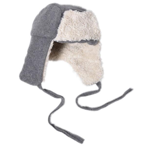 10001005 Lumberjack Hat Mütze warm Plüsch Fleece Mädchen Buben grau bio organic