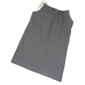 100034131 Kleid zum Binden mit Kordel aus bio organic Musselin Kordel grau Musselin