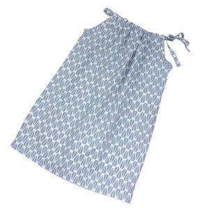 100034140 Kleid zum Binden aus bio organic Baumwolle Mädchen ohne Ärmel blau Blätter Sommerkleid