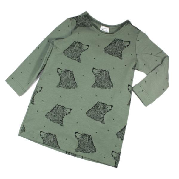 100053125 Kleid langarm bio organic Sweat Mädchen Bär grün