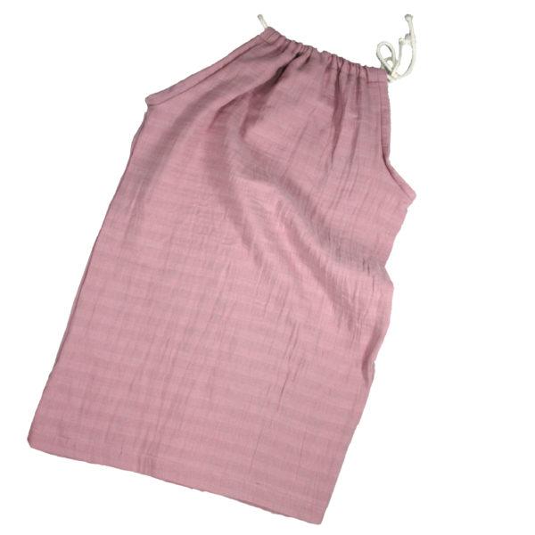 10003429 Kleid zum Binden ohne Ärmel bio organic Kordel rosa Musselin