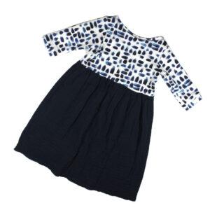 100100162 Kleid langarm bio organic Sweat Musselin weiter Halsausschnitt blau dunkelblau weiß Mädchen