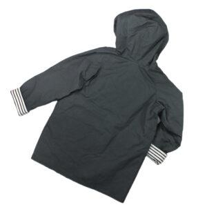 100069131b Jacke mit Kapuze Oilskin gewachst wasserabweisend grau gestreift bio organic