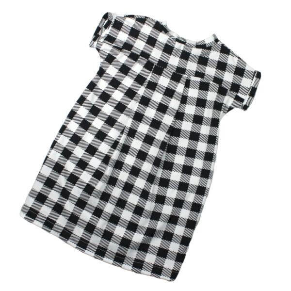 100097185 Kleid Sommerkleid kurzarm bio organic Jersey schwarz weiß Mädchen