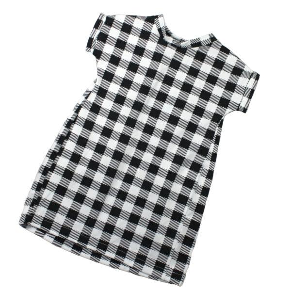100097185a Kleid Sommerkleid kurzarm bio organic Jersey schwarz weiß Mädchen