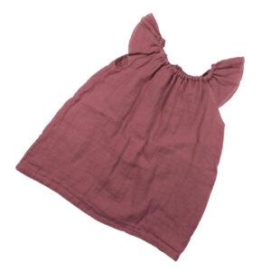 100110170 Kleid mit Volant Mädchen bio organic Musselin vintage rose rosa Sommerkleid
