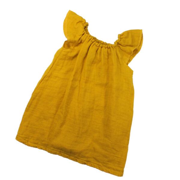 100110171 Kleid mit Volant Mädchen bio organic Musselin gelb senf Sommerkleid