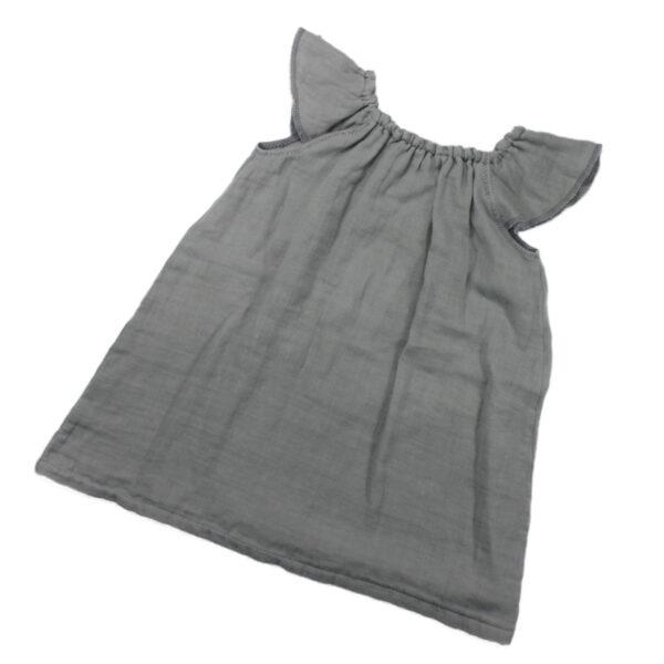 100110199 Kleid mit Volant Mädchen bio organic Musselin grau Sommerkleid