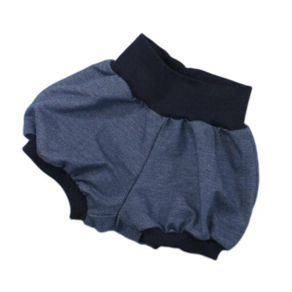 10012337 Short mit Bündchen jeansjersey Bloomershort Ballonshort bio organic blau dunkelblau jeansblau
