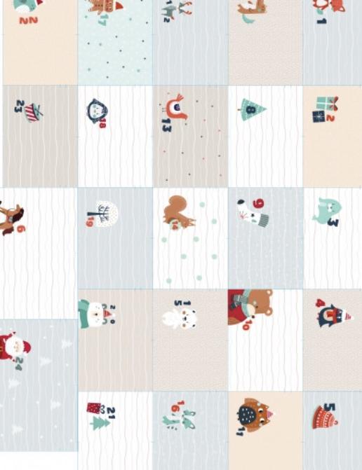 100133222 Adventkalender aus Stoff bunt wiederverwendbar