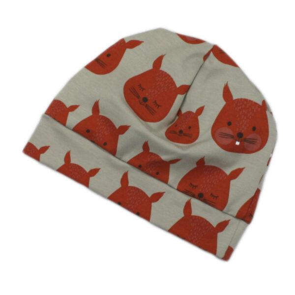 100011205 Beanie Mütze Haube mit Bündchen aus Jersey Mädchen Buben bio organic Eichhörnchen grau orange