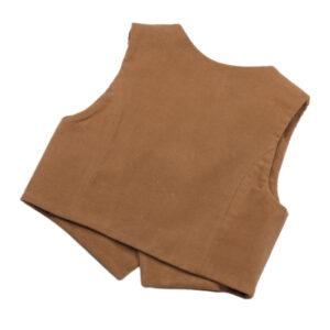100104217 Gilet Knöpfe Holzknopf festliche Mode bio organic Schnürlsamt sand beige