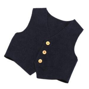 100104225 Gilet Knöpfe Holzknopf festliche Mode bio organic Schnürlsamt dunkelblau