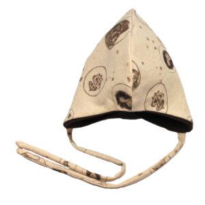 100078206 Beanie Haube Mütze mit Bindebändern gefüttert mit Fleece warm Winter Baby bio organic beige Tiere Schnarchnasen braun