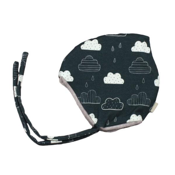 100078134 Beanie Haube Mütze mit Bindebändern gefüttert mit Fleece warm Winter Baby bio organic rauchblau Wolken