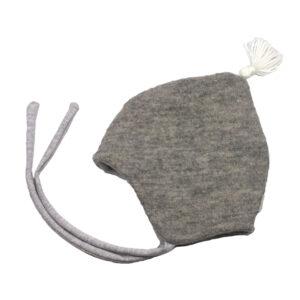10007805 Beanie Haube Mütze mit Bindebändern gefüttert mit Fleece Wolle Wollwalk Walk mit Quaste warm Winter Baby bio organic grau weiß