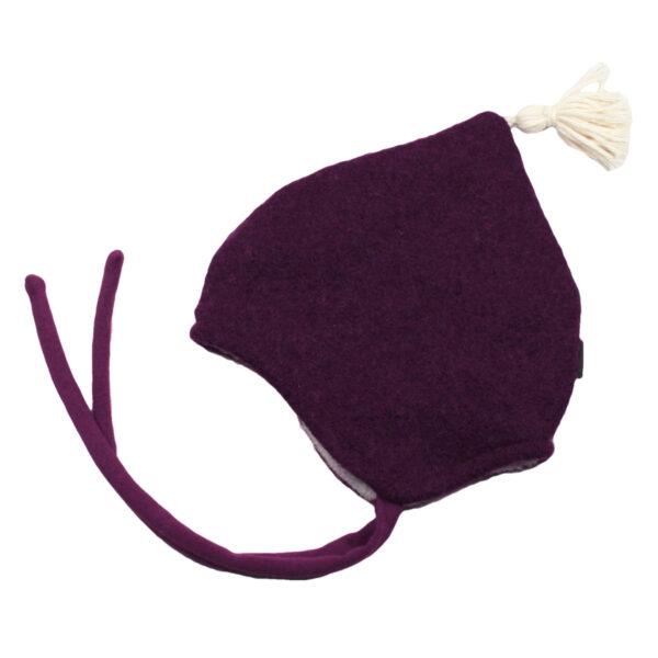 100078215 Beanie Haube Mütze mit Bindebändern gefüttert mit Fleece warm Winter Baby bio organic Wolle Wollwalk Walk pflaume rosa mit Quaste
