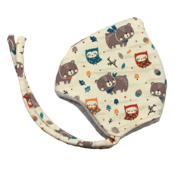100078234 Beanie Haube Mütze mit Bindebändern gefüttert mit Fleece warm Winter Baby bio organic beige Tiere Bär Eule