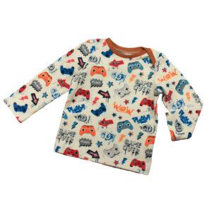 100098 Shirt T-Shirt langarm mit Schlupfausschnitt bio organic Gamer blau orange