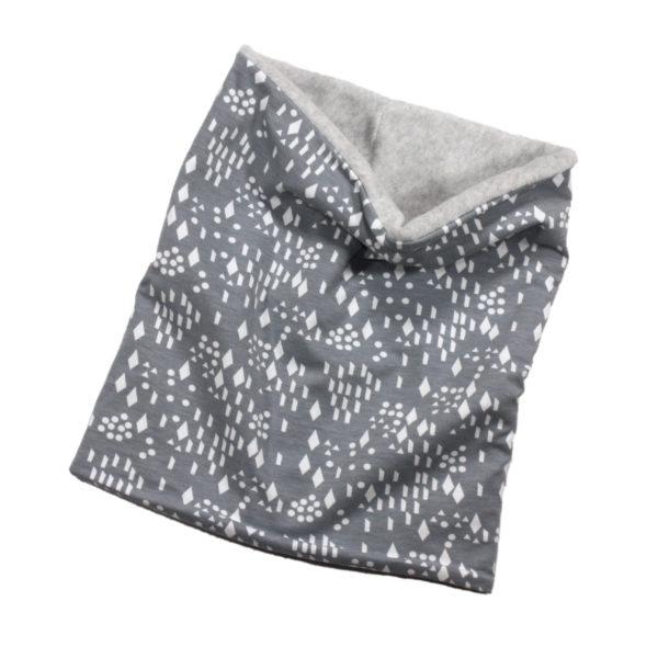 100008112a Loop Halstuch Schal bio organic Schlauch gefüttert mit Fleece warm grau Diamond