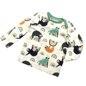 100098238 Shirt T-Shirt langarm mit Schlupfausschnitt bio organic Faultier Regenbogen mint