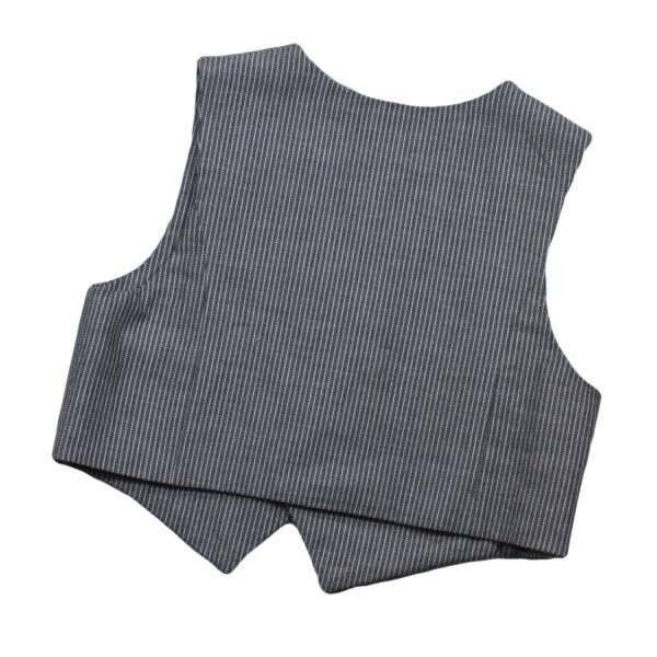 100104139a Gilet Knöpfe Holzknopf festliche Mode bio organic grau weiß gestreift