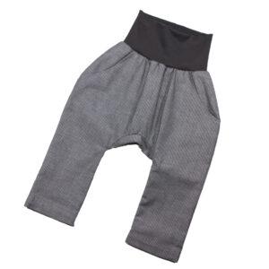 100124139 Hose mit Bündchen Taschen zum Krempeln festliche Hose grau weiß gestreift bio organic Mitwachshose