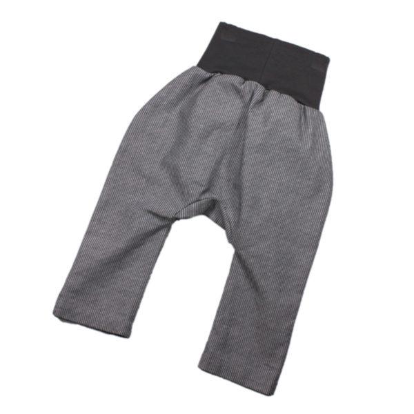 100124139a Hose mit Bündchen Taschen zum Krempeln grau weiß gestreift festliche Hose bio organic Mitwachshose