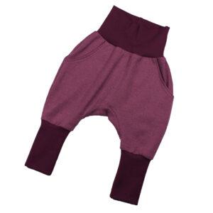 100132215 Hose Mitwachshose mit Bünden zum Krempeln mit Taschen bio organic pflaume rosa