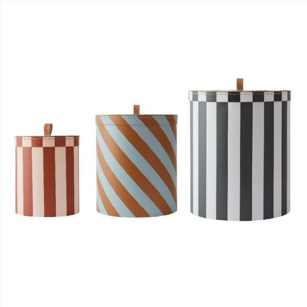 Storage Box Round Stripe Set Of 3 Storage M10249 908 Multi 1000x5712195033699