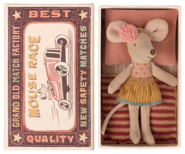 Maileg Big Little Sister Mouse In Matchbox Kleine Schwester Maus In Streichholzschachtel 16 1726 01 Proudbaby 1