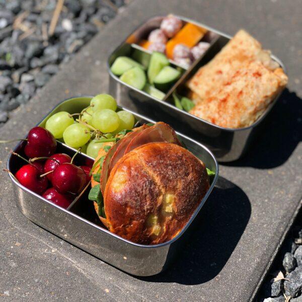 Yummii Yummii Edelstahl Bento Box 1100ml Bambus Deckel Jausenbox Mit Fächern Proudbaby 1